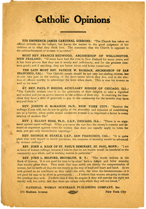 Catholic Opinions [suffrage handbill]